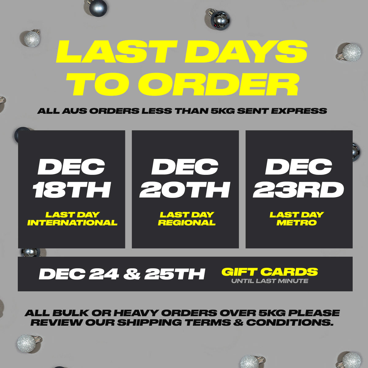 Last Days to Order