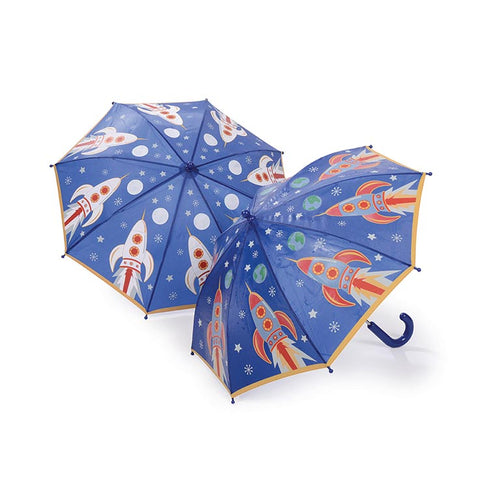 Paraguas Floss & Rock cohete, cambia de color ,Floss and Rock magical colour changing umbrella is so much fun in the rain! Watch the details change colour in the rain and change back again when it's dry!.  Receive 22 Assorted Umbrellas Size: 60 x 70cm Age 3+