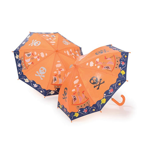 Paraguas Floss & Rock pirata, cambia de color,Floss and Rock magical colour changing umbrella is so much fun in the rain! Watch the details change colour in the rain and change back again when it's dry!.  Receive 22 Assorted Umbrellas Size: 60 x 70cm Age 3+