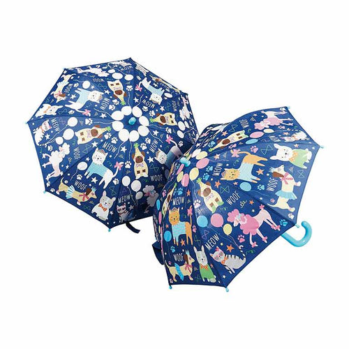 Paraguas Floss & Rock animales de compañía, cambia de color ,Floss and Rock magical colour changing umbrella is so much fun in the rain! Watch the details change colour in the rain and change back again when it's dry!.  Receive 22 Assorted Umbrellas Size: 60 x 70cm Age 3+