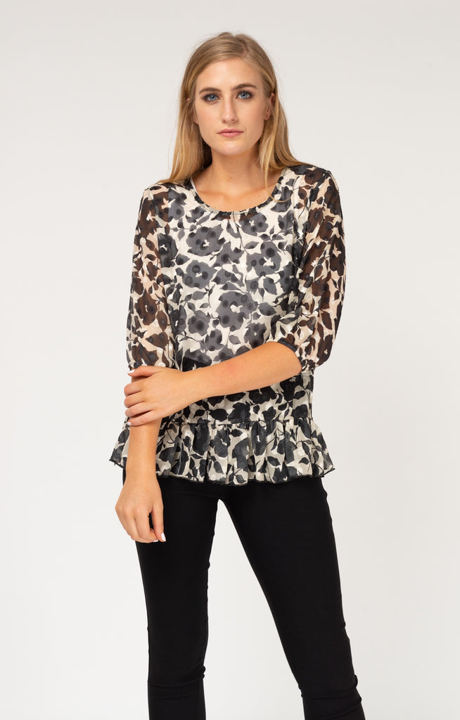 Black & Floral Embossed Ruffle Blouse