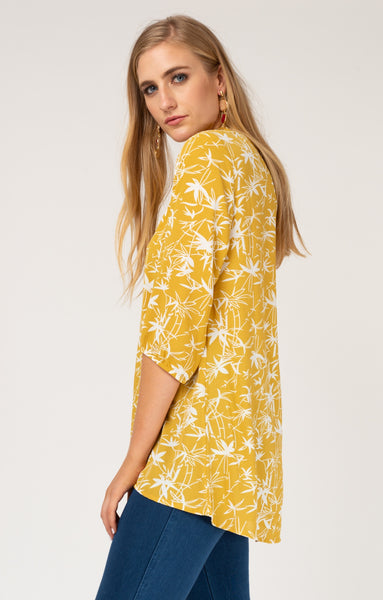 Mustard Palm Ruched Neck Blouse