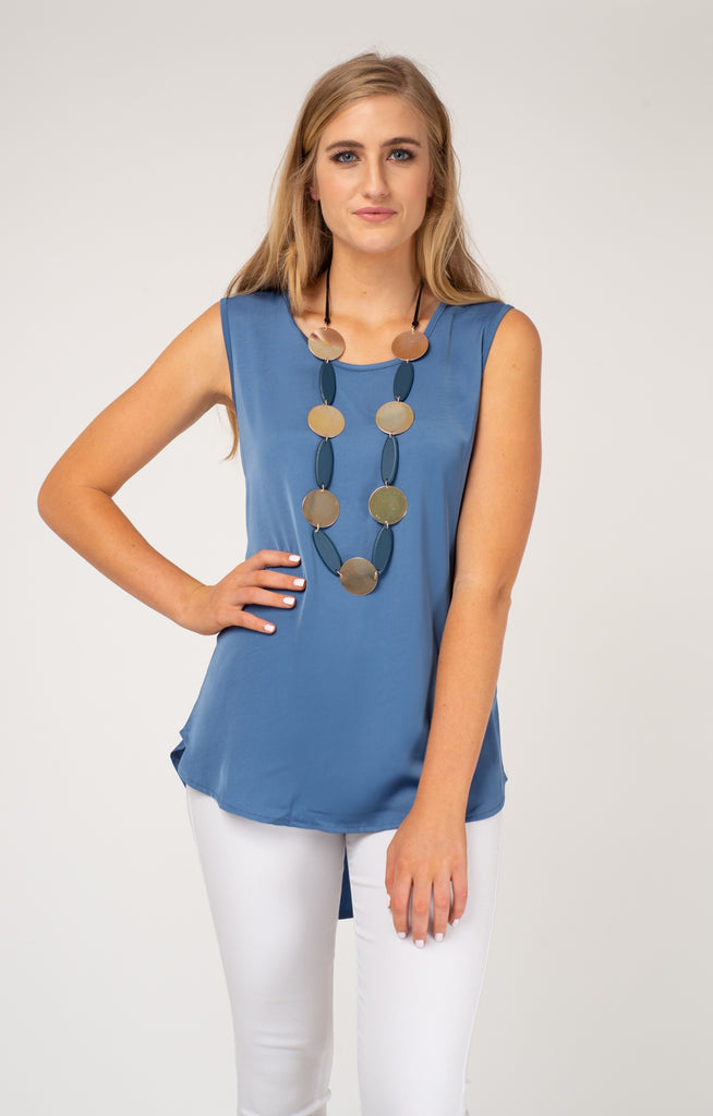 Blue Scooped Round Neck Tank