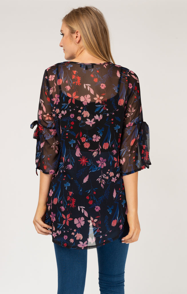 Blue Floral Tie Sleeve Top