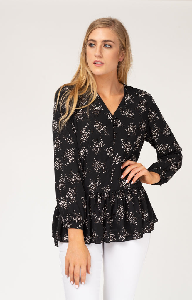 Black Branches Button Ruffle Blouse