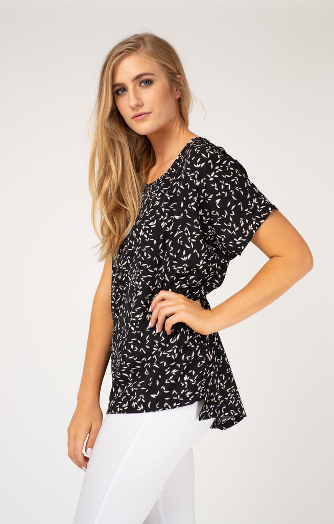 Black Leaves Oversized Tee