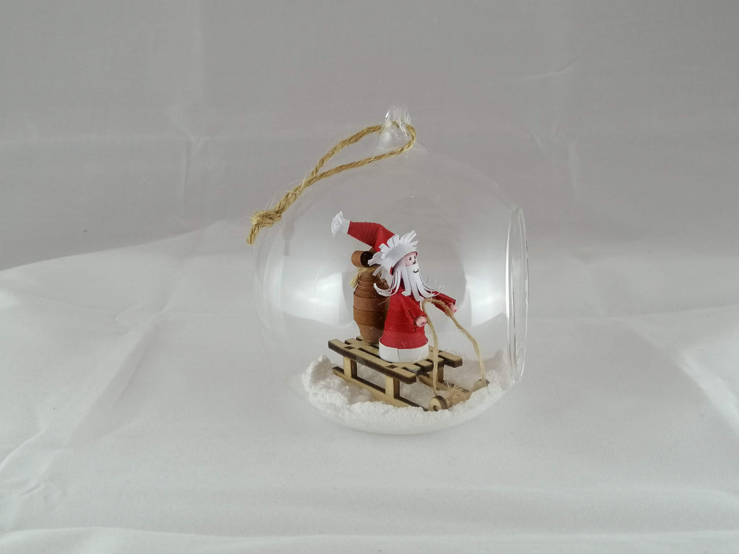 Santa on sleigh large bauble