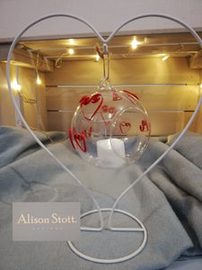 Heart hanging tealight holder