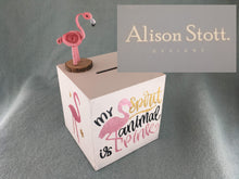 Load image into Gallery viewer, Flamingo wooden moneybox
