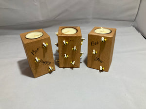 Set of 3 bee tea light holders