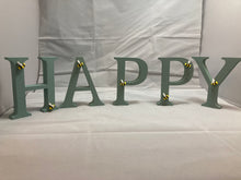 "Load image into Gallery viewer, ""Bee happy"" wooden letters"
