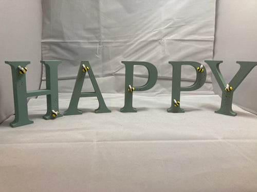 """Bee happy"" wooden letters"