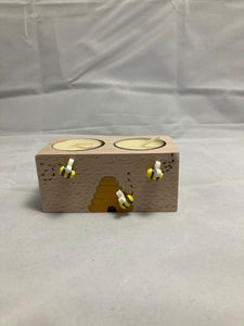 Double tea light holder with bees