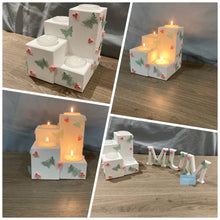 Load image into Gallery viewer, Wooden tea light holder and letters gift set