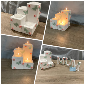 Wooden tea light holder and letters gift set
