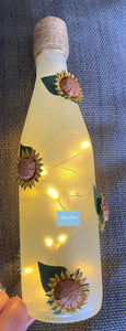 Light up bottle with sunflowers