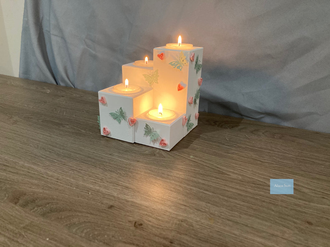 Wooden tea light set