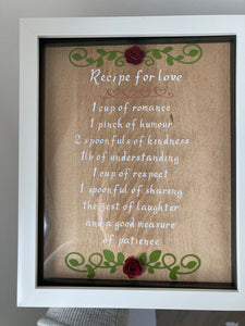 Recipe for love frame