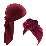 Velvet durag and Flower tuban 2pcs set