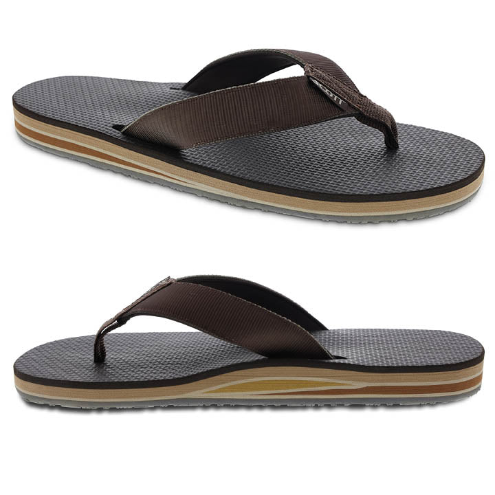 Men's layered flip flop with arch support and heel cushion