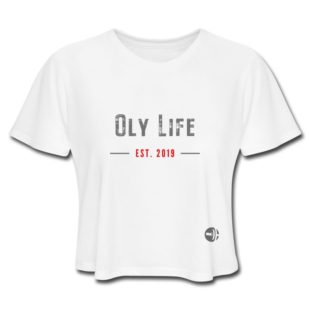 Women's Cropped OLY LIFE T-Shirt - white