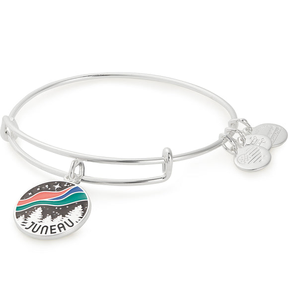 Alex and Ani Exclusive Juneau Northern Lights Bangle in Rafaelin Silver