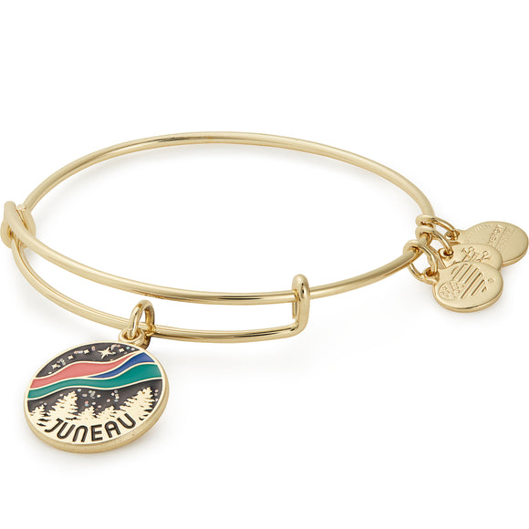 Alex and Ani Exclusive Juneau Northern Lights Bangle in Rafaelin Gold