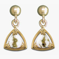 Women's Earrings N-441 GOLD QUARTZ 7*7*7 TRI PPD