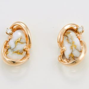 Women's Earrings N-784 SM GOLD QTZ 2/.02CT PPE