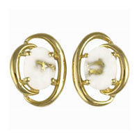 Women's Earrings N-805 GOLD QUARTZ 8*6 OVAL PPE