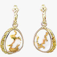 Women's Earrings SC-126 GOLD QUARTZ & NUGGET LBD