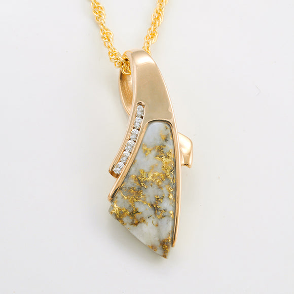 Women's Pendant DL-8 LG GOLD QUARTZ 6/.025CT DIA
