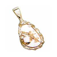 Women's Pendant FFQ-4 GOLD QUARTZ FREEFORM