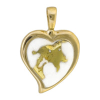 Women's Pendant H-12 GOLD QUARTZ HEART ,NO CHAIN