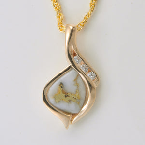Women's Pendant N-390 GOLD QUARTZ 3/.02CT DIA