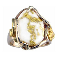 Women's Ring 232RL GOLD QUARTZ NOL ON SIDE