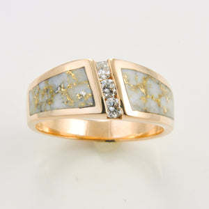 Women's Ring 470RL GOLD QUARTZ 3/.07CT DIA