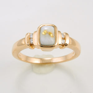 Women's Ring 690RL GOLD QUARTZ 4/.015CT DIA