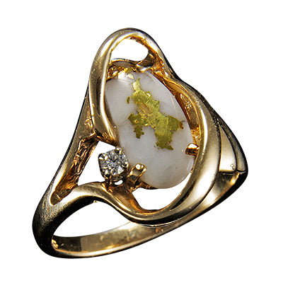 Women's Ring 784RL GOLD QUARTZ .05CT DIA