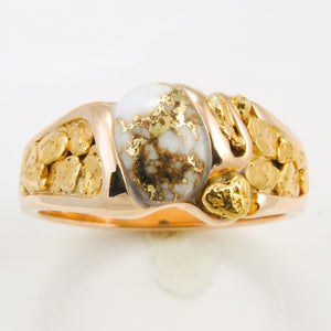 Women's Ring 486RM GOLD QUARTZ & NUGGET FF
