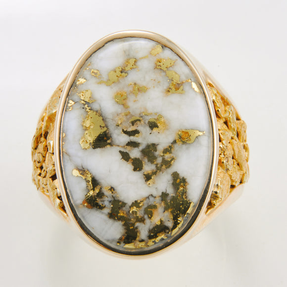 Men's Ring 627RM GOLD QUARTZ & NUGGET OVERLA