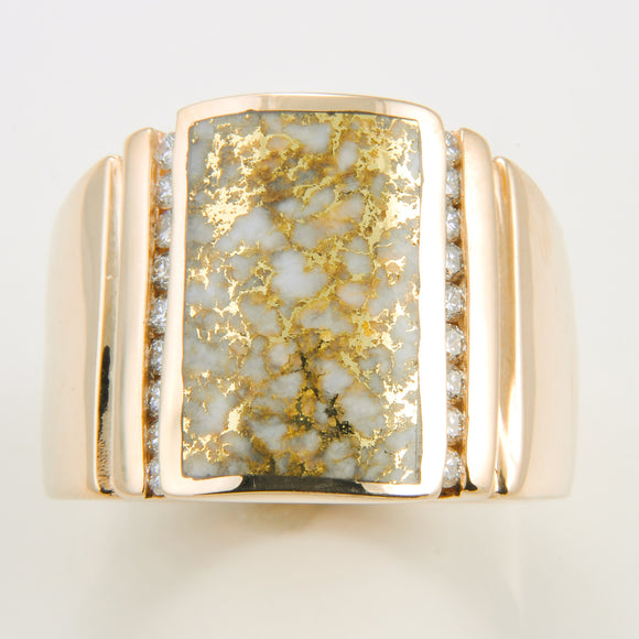 Men's Ring 784RM GOLD QUARTZ 18/.025CT