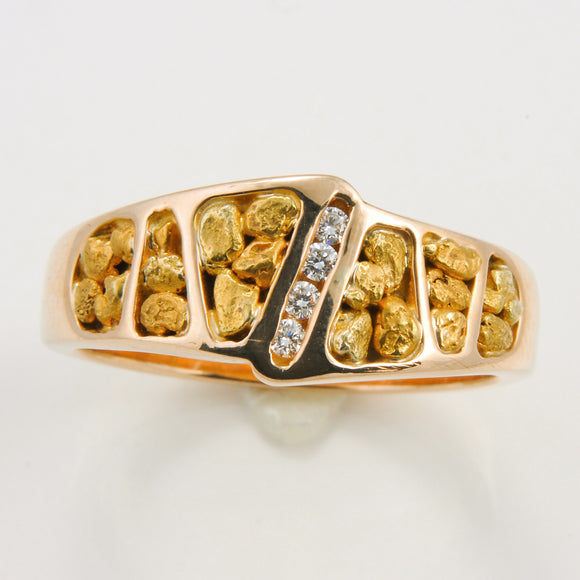 Men's Ring 882RM GOLD NUGGET OL 4/.02CT