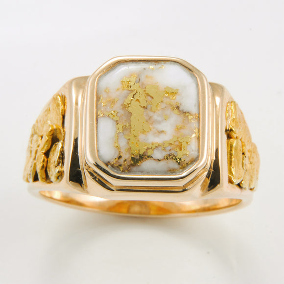 Men's Ring 962RM GOLD QUARTZ NUG OL SIDE