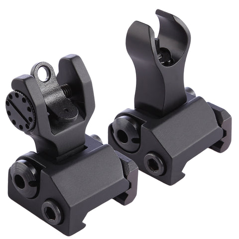 O Type Foldable Sight Device with Front Rear Aiming - Black