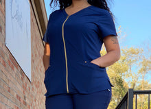 Load image into Gallery viewer, Heart Soul Zip Top in Navy