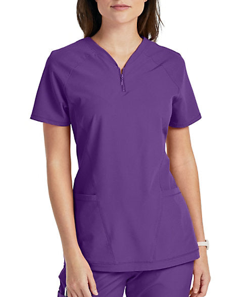 Purple Zip V-neck Top by Barco One