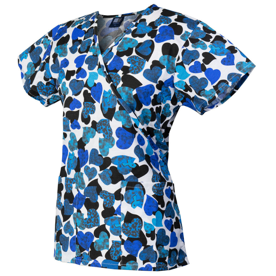 Med Gear Blue Hearts Print Top