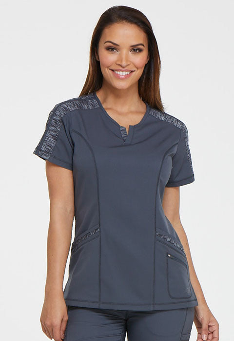 Dickies Dynamix V-Neck Top in Pewter