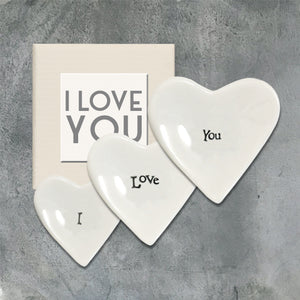 Porcelain mini heart dish set